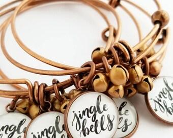 antique copper Christmas jingle bells bangle bracelet gift for her stocking stuffer stocking filler