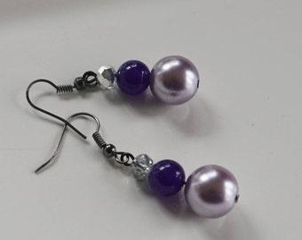 Purple Pearl Earrings, Women's Earrings, Purple Crystal Earrings