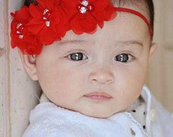 Red Baby Headband, , Infant Headband, Newborn Headband - Red Christmas Headband Chiffon and Pearls Flower Headband