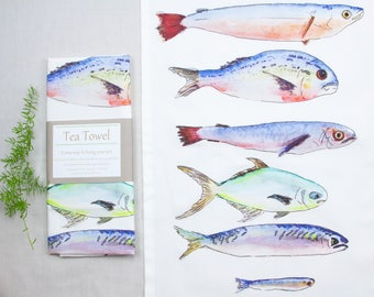 Salt water fish print kitchen towel, hand painted watercolor art, beach house decor, rustic decor, unique gift, gift for him,  tea towel