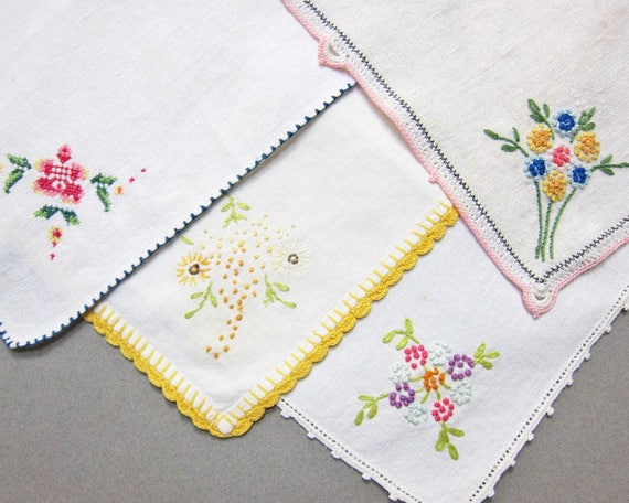 Vintage Embroidered Dessert Napkins, Set of 4