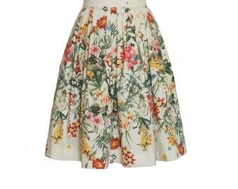 Beautiful floral printed knee length pleated womens skirt, high waist, midi skirt, A line skirt, cotton skirt, skater skirt, summer skirt