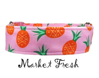 """Preppy Tropical Pineapple 1"""", 1.5"""" or 2"""" Dog Collar Buckle or Martingale Style Collar"""