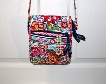 "Vera Bradley Handbag - ""Unknown Pattern"" - Blue Pink - Mini Crossbody Bag - Retired Pattern"