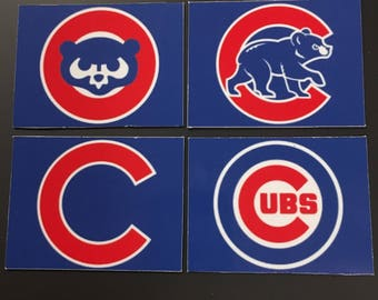 "Chicago Cubs Logo Magnets - Set of 4 - 2.5"" x 4"" Size"