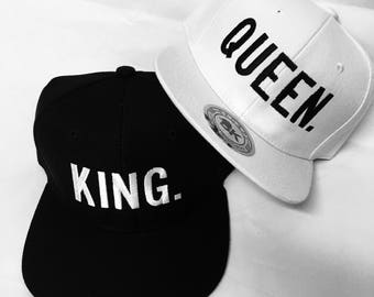 Custom Block King and Queen Snapback Custom Colors Multicolor Snap Back White or Black