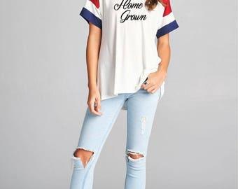 Home Grown Color Block Varsity Sleeve Shirt - Ladies Top. T-Shirt,  V Neck ,Loose Fitting