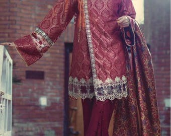 Saira Rizwan origina angarkha, red shalwar kameez, pakistani clothes, women clothing