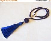 15% SALE Iridescent Blue Tassel Necklace - Long Necklace - Bead Crochet Rope Necklace - Statement Tassel necklace - beaded tassel pendant