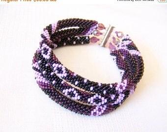 15% SALE Beadwork - 3 Strand Bead Crochet Rope Bracelet in black, purple and lilac  - beaded jewelry - seed beads bracelet