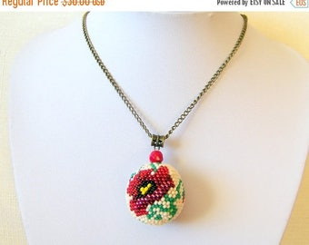 15% SALE Big Beaded Sphere Pendant with Poppy - Ball pendant - Bead crochet pendant - Modern Pendant Necklace - Flower Pendant Necklace