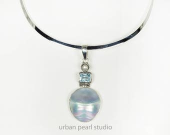 Blue Mabe Pearl Nautilus Shell Pendant Bridesmaids Gifts Osmena Pearl Beach Wedding Jewelry
