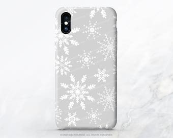 Snowflakes iPhone X Case iPhone 8 Case iPhone 7 Case Christmas iPhone 7 Plus Case iPhone 6s Case iPhone SE Case Galaxy S7 Galaxy S8 Case N36