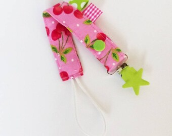 Pacifier clip-cherry - red-pink-white-green design fabric