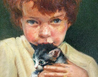 Original 1950s Oil Painting of Girl with Kitten by Mary Crowther - Adorable Kitty Cat and Freckles - Midcentury Art