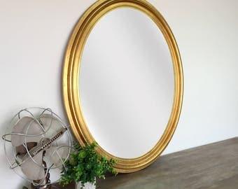 Gold Oval Mirror - Vintage Home Decor - Shabby Chic Mirror - Vintage Wall Mirror - French Country Mirror - Vintage Wall Decor