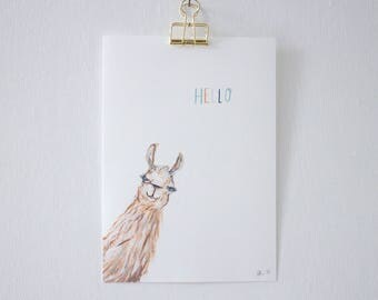 Hello Llama - unframed print