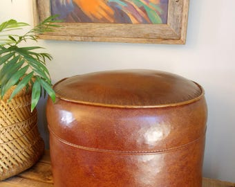 Retro Faux Leather Round Foot Stool/Ottoman