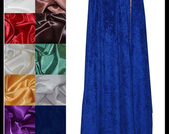 Royal Blue Crushed Velvet Cloak lined with a Shimmer Satin of your choice. Ideal for LARP LRP Medieval Vintage Costume. NEW!
