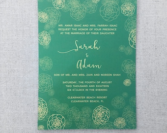 Green Wedding Invitation with Gold Detail | Customizable Colors | Desi | Indian | Pakistani