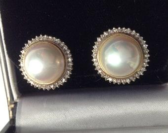 Gem Quality Mobe Pearl + Diamond 14K Earrings