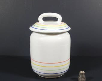 Italian White China Canister, Rainbow Strip Tres Ci Ceramic Kitchen Canister Vintage