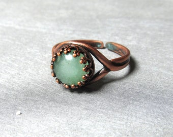 Aventurine Ring Gemstone Copper Antiqued Ring Natural Stone Ring Engagement Promise Rings Fashion Jewelry Boho Rustic