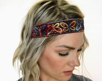 Multi Colored Butterfly Boho Headband - Brown - Limited Quantities!