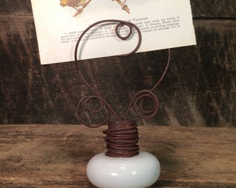 Antique Doorknob Twisted Wire Photo Holder - Rustic Home Decor