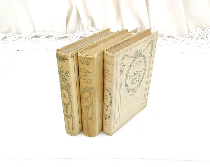 Vintage Bundle of 3 French Off White Shabby Romantic Books Printed in 1930s, Retro Decorators Piece, Brocante Flea Market Decor,