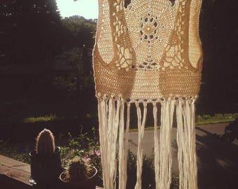 Crochet Luna Mandala Vest with Fringe - White - Size Small
