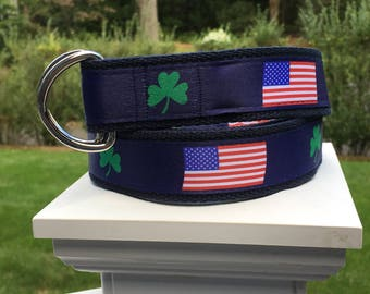 Shamrock Belt / American Flag Belt / St Patricks Day Belt / Flag Belt / Preppy Belt / Canvas Belt / Mens Belt / Ireland / USA