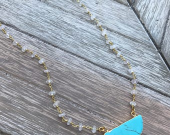 Wanderlust - Turquoise & Gold Half Circle Necklace