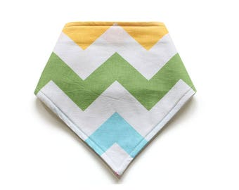 SALE || Adjustable Bandana Bib || Chevron Yellow, Green and Aqua