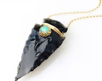 Obsidian Opal Arrowhead Necklace / October Birthstone Bohemian Jewelry / Gift for Libra / Genuine Ethiopian Welo Opal Necklace