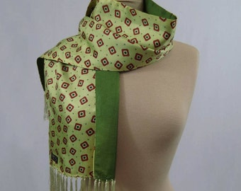 Yellow and Green Fringed Scarf