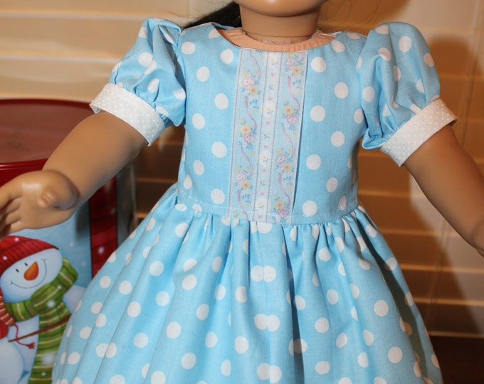 Princes Blue Polka Dot,White Floor Length Dress,Matching Shoes made to fit the 18 inch Dolls like American Girl and other Doll FREE SHIPPING