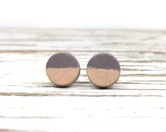 Grey and Gold Stud Earrings, Leather Earrings for Women, Minimalist Earrings, Simple Earrings, Stainless Steel Studs, Sterling Silver Studs
