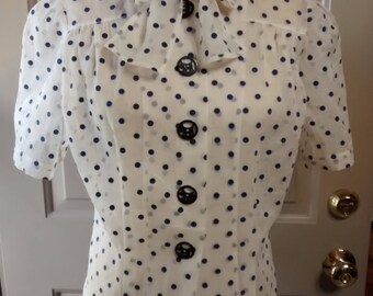 Polka dot 1940s Half vintage blouse