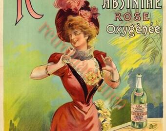 Art Nouveau Rosinette Absinthe ad vintage image digital download for art print, scrapbooking, mixed media, altered art,