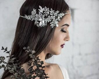 Crystal Pearl Hairpiece, Chain Headband, Wedding Hair Jewelry, Bridal Headband, Jewelry Head Piece, Bridesmaid, Weddings Accessories