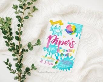 Splash Bash | Birthday Invitation Girl | Girl Birthday Invitation | Digital Invitations | Pool Party | Personalised | Printable