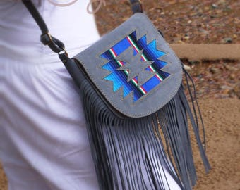 Gray Suede Leather Serape Shoulder Bag, Gray Leather Bag, Grey Leather Bag, Serape Bag, Hippie Bag, Gray Boho Bag, Cowgirl Bag, Cowboy Bag