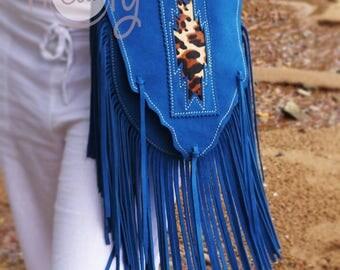 Blue Suede Leather Shoulder Bag With Leopard Print, Blue Leather Bag, Leopard Bag, Blue Hippie Bag, Blue Boho Bag, Cowgirl Bag, Cowboy Bag