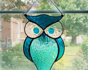 Owl Stained Glass Suncatcher - Blue Cathedral Glass - Stained Glass Bird - Horned Owl - Garden Art - Owl Ornament - Housewarming Gift