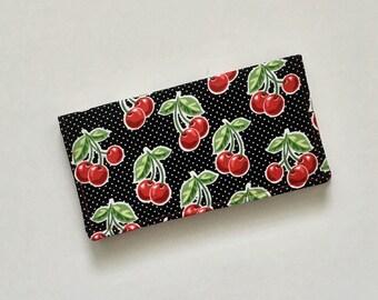 Red Checkbook Cover, Cherry Checkbook Cover, Fabric Checkbook Cover, Checkbook Case, Checkbook Holder