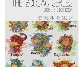 Cross Stitch Pattern PRINTED Set The Zodiac Series, Astrology Cross Stitch (BOOK01)