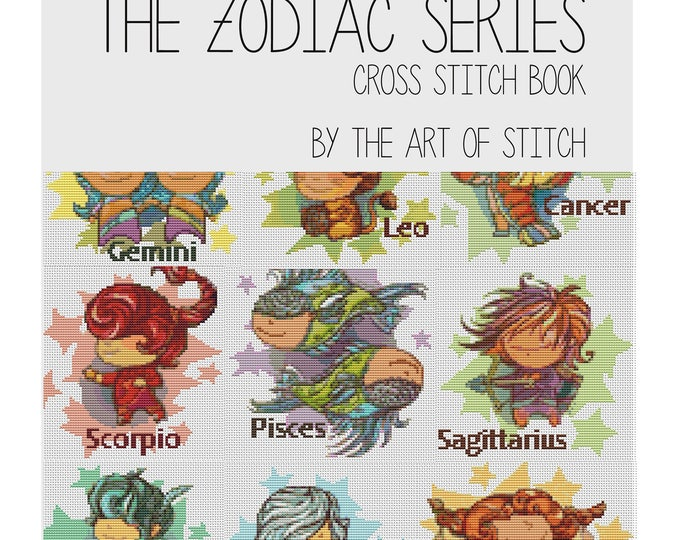 Cross Stitch Pattern PRINTED Set The Zodiac Series, Astrology Cross Stitch (BOOK01)