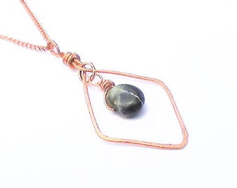 Geometric Necklace, Hammered Copper Pendant, Sodalite Necklace, Vintage Copper Chain,  Hammered Jewellery, Festival Necklace, Rustic Pendant