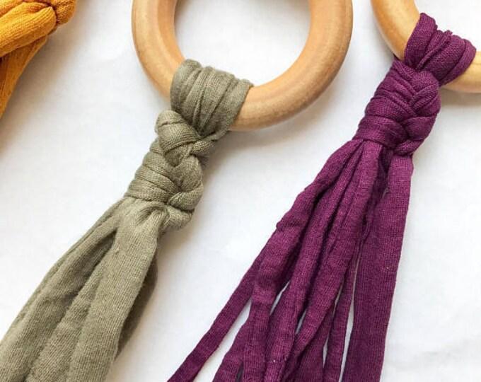 Plum Tug & Pull Teething Tassel Necklace | Purple Macrame Teething Necklace | Macrame Tassel Necklace